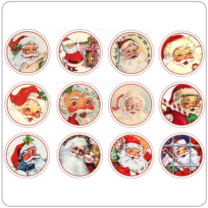 Vintage Santa | Santa Claus Vintage Circle Tags [VT-20120] - $2.99 : Pretty Little ...