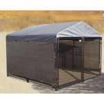 AKC 10' x 10' x 6' Black Powder Coated Dog Kennel with Cover - Costco