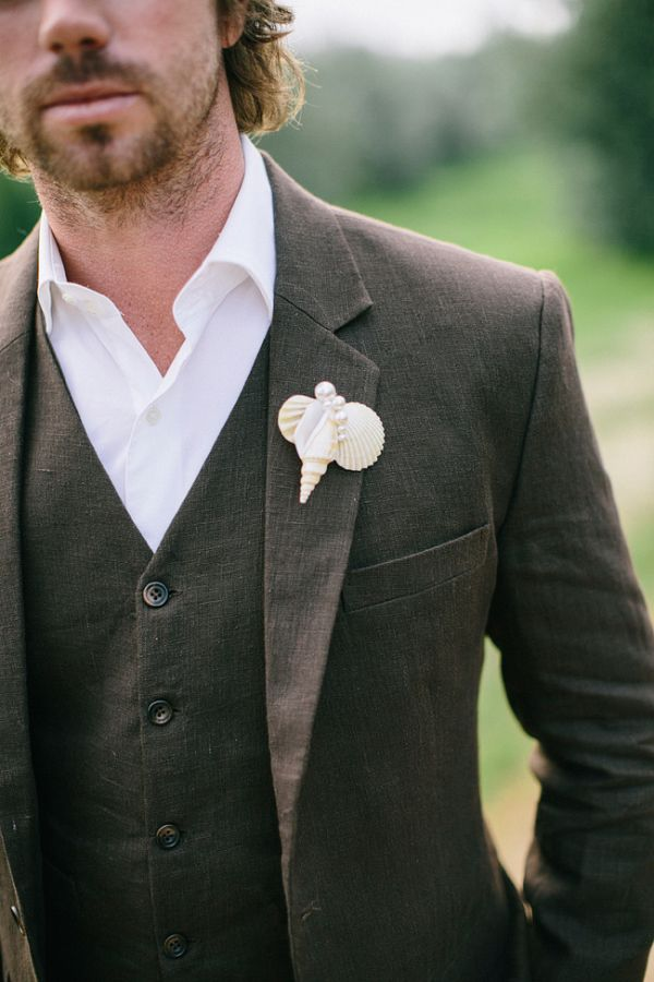Love this shell boutonniere
