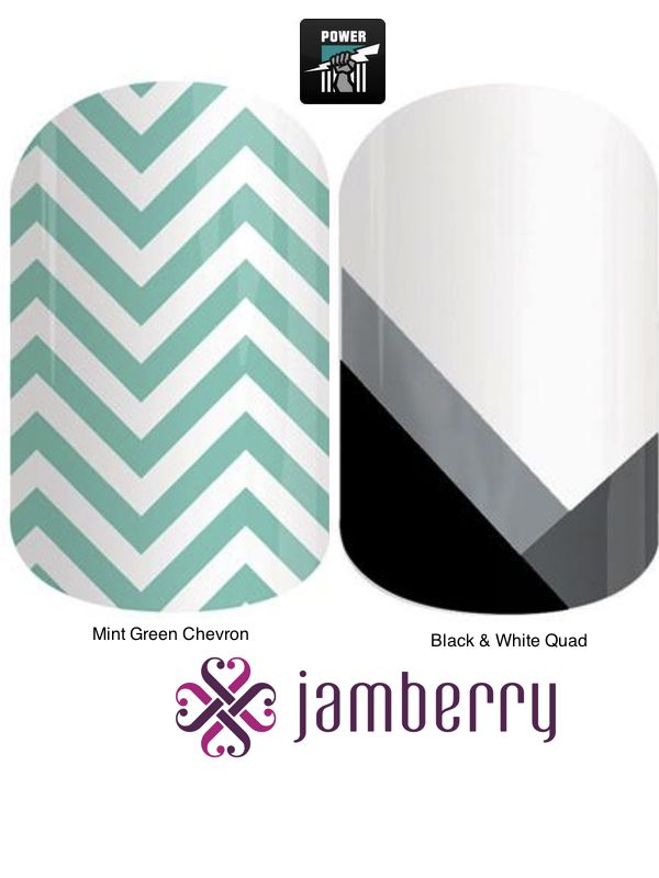 Jamberry Power Inspiration - Mint Green Chevron and Black & White Quad
