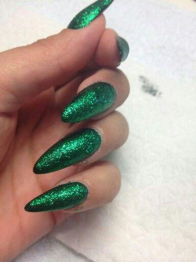 Sexy dark green glitter stilettos