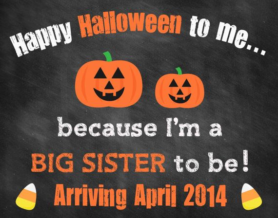 Printable Chalkboard Halloween Pregnancy Reveal // Halloween Pregnancy Announcement // Big Sister Announcement