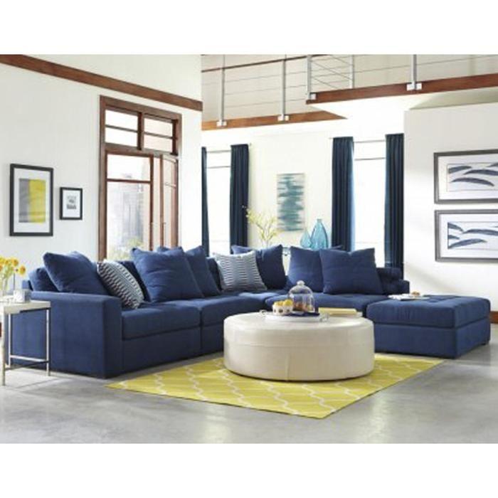 Noah 4 Piece Sectional In Hugo Indigo   Nebraska Furniture Mart