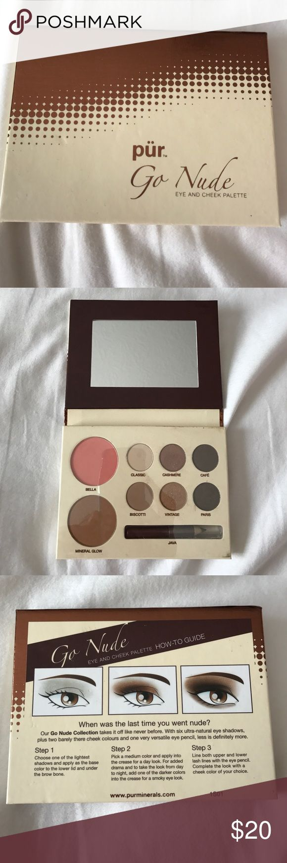 PUR Minerals Go Nude Eye and Cheek Palette PUR Cosmetics Go Nude Eye and Cheek Palette. NWOT. Never used. Includes classic, cashmere, cafe, biscotti, vintage and Paris eye shadow colors as well as Bella and Mineral glow for Cheeks. One small Java eyeliner pencil as well. Has How-To guide on the back. As always PUR Cosmetics are cruelty free❤️! Pur Minerals Makeup Eyeshadow