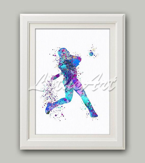 Boy Baseball Softball Player Watercolor Print Wall Art Sports Poster Home Decor