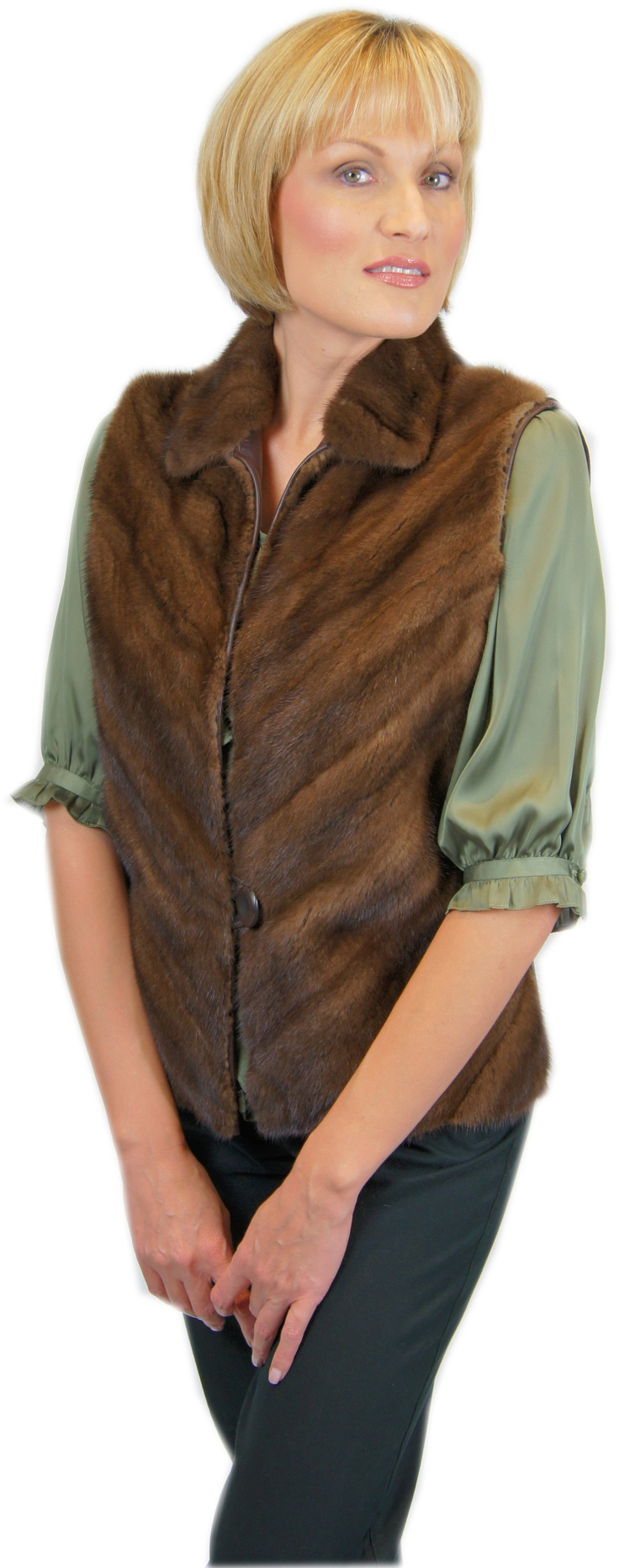 Mink vest restyled from customers hem.