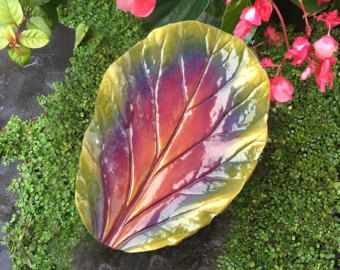 Bowl - Concrete cast leaf in olive green, gold and purples