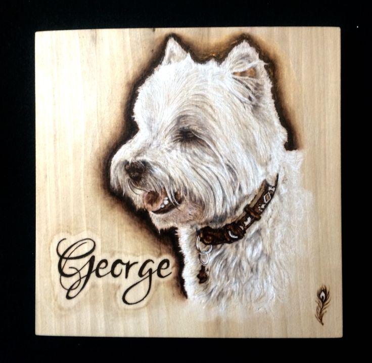 Dog portrait , pyrography / wood burning