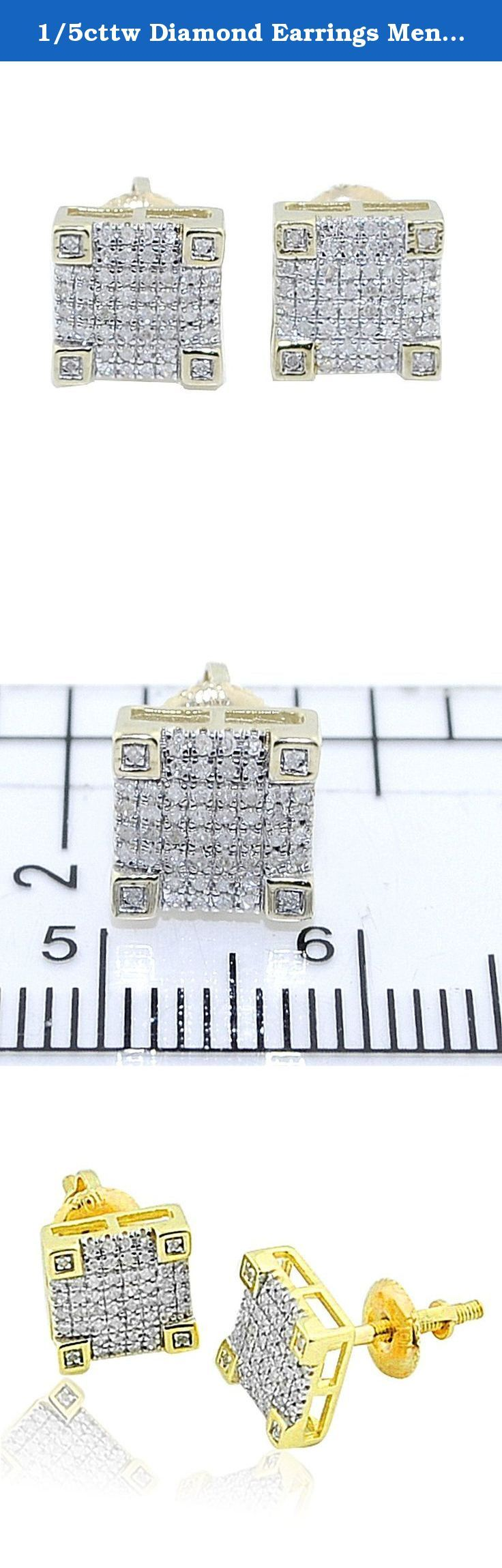 1/5cttw Diamond Earrings Mens 10K Gold 9mm Wide Fashion Earrings Screw Back. 1/5cttw Diamond Earrings Mens 10K Gold 9mm Wide Fashion Earrings Screw Back Item Type: Stud-earrings Metal Type: 10k Yellow-gold Gem Type: White-diamond Carat Weight: 0.21CARATS Real Diamond Earrings with real 10k Yellow-gold for mens with Screw Back Earring box included, ships within 24 hours signature required on delivery Color diamonds are irradiated to produce color, all measurements are approximate values...