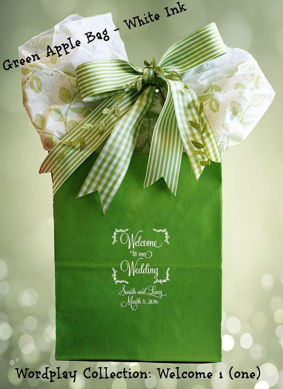 50 Wedding Welcome Bags for the traditional couple. Greet your wedding guests with a personalized gift bag that is uniquely you! Available only from www.favorsyoukeep.com. Questions? Call us at 512.323.0600. We love to chat!