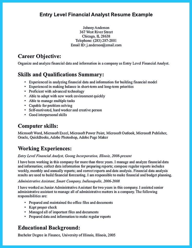 if you are a business analyst and you just seeking for a job in a big - Entry Level Finance Resume