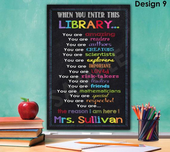Library sign library decor librarian gift library rules for Poster decoratif
