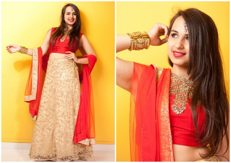 Bask in the sheer glory of rich & elegant Golden Lehenga enhanced with Red Crop Top & a Red Net Dupatta. The top is Exquisitely Embroidered With Gold Stone work.  Make a striking style statement by flaunting this lehenga at your Pre-wedding or Wedding functions..  Try it ♡ Book it ♡ Flaunt it