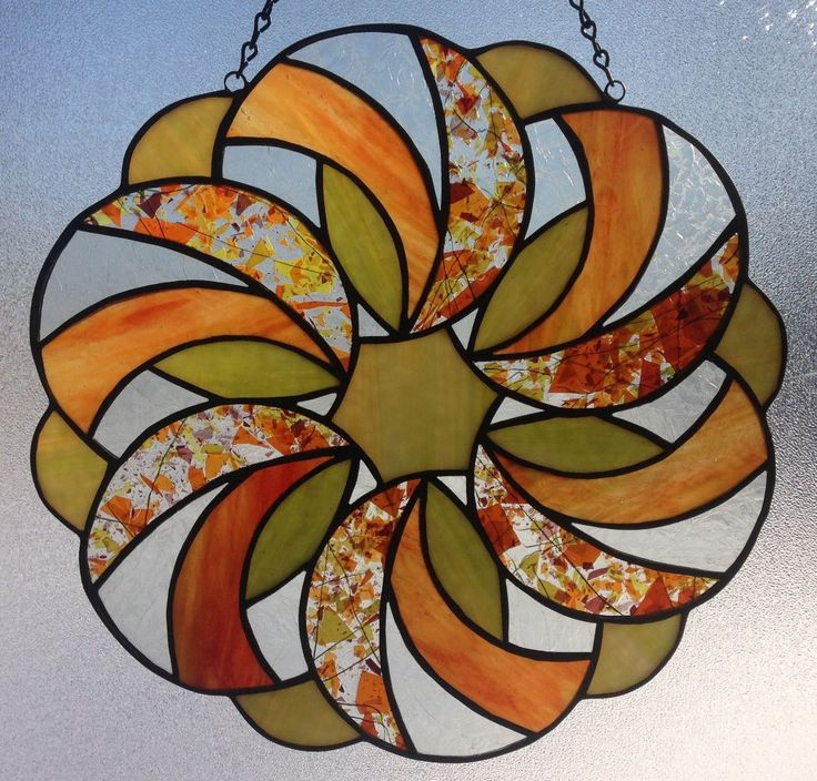 Stained Glass Panel Sun Catcher Made in MI by Seller Green Orange Confetti | eBay