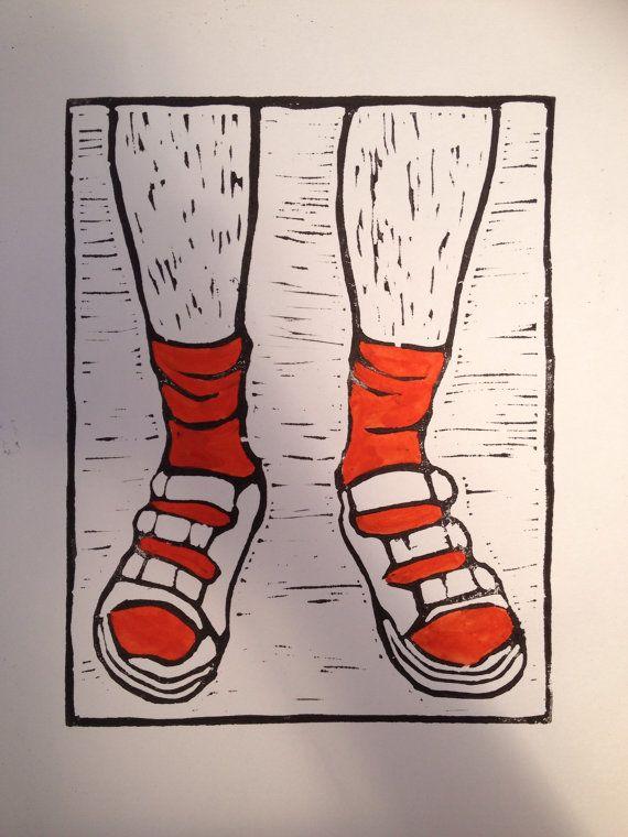 Socks and sandals linoprint