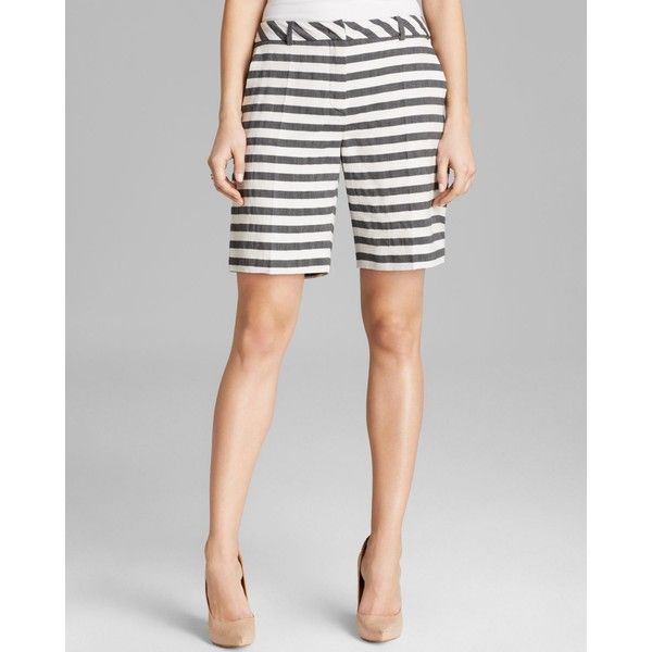Weekend Max Mara Shorts - Giudy Linen-Cotton Striped Bermuda found on Polyvore featuring polyvore, women's fashion, clothing, shorts, black white, black and white shorts, black and white stripe shorts, cotton shorts, black and white striped shorts and striped bermuda shorts