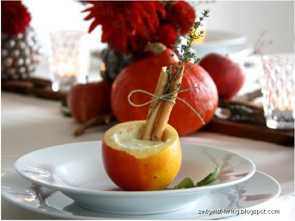 DIY tablesetting for autumn with apples and pumpkins
