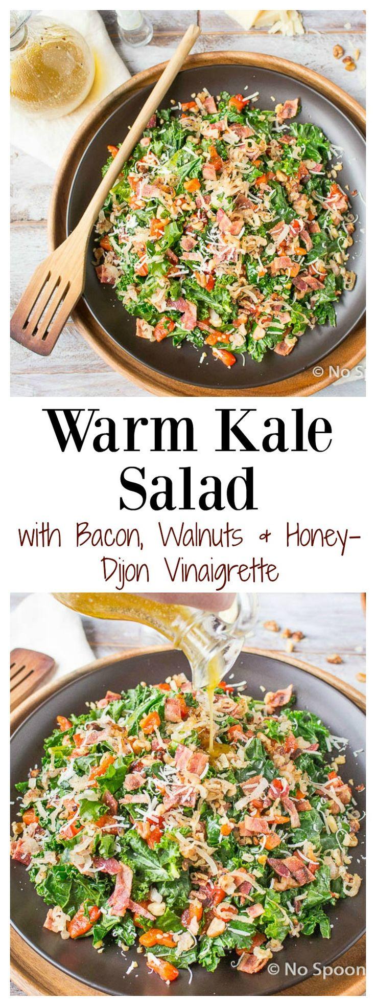 Warm Kale Salad with Crispy Shallots, Bacon, Walnuts, Roasted Red Peppers, Parmesan & Honey-Dijon Vinaigrette