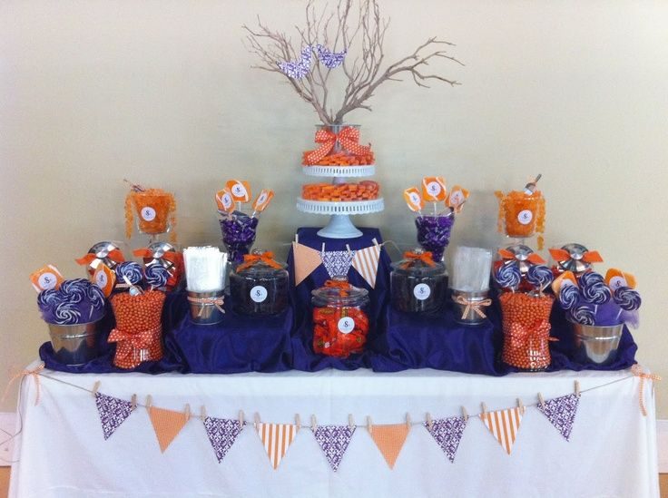 Purple and orange candy buffet