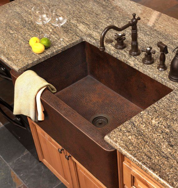 Copper farmhouse sink and faucet - Who would ever think you could be so happy over a bathroom sink!