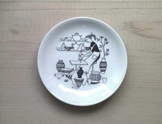"mini plate ""FACTORY VISIT"" Uosikkinen ARABIA   φ9.5cm"