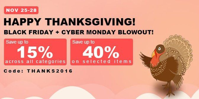 Happy Thanksgiving Sale, from Fasttech