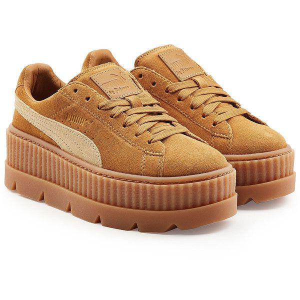 FENTY Puma by Rihanna The Cleated Creeper Sneakers (220 CAD) ❤ liked on Polyvore featuring shoes, sneakers, brown, brown sneakers, brown platform shoes, suede shoes, creeper shoes and puma creeper