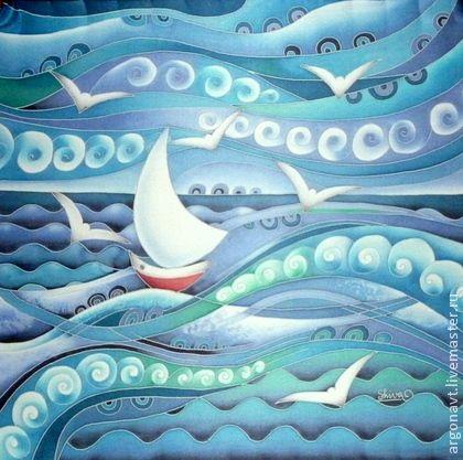 """Шали, палантины ручной работы. Ярмарка Мастеров - ручная работа """"Морской""""- маленький  шейный платочек-батик. Handmade."""