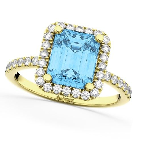 Blue Topaz & Diamond Engagement Ring 18k Yellow Gold (3.32ct), Women's, Size: 11.25