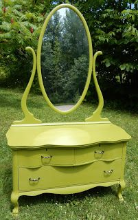 Yellow Cottage Furniture: Oval Tilting Mirror Dresser Before and After