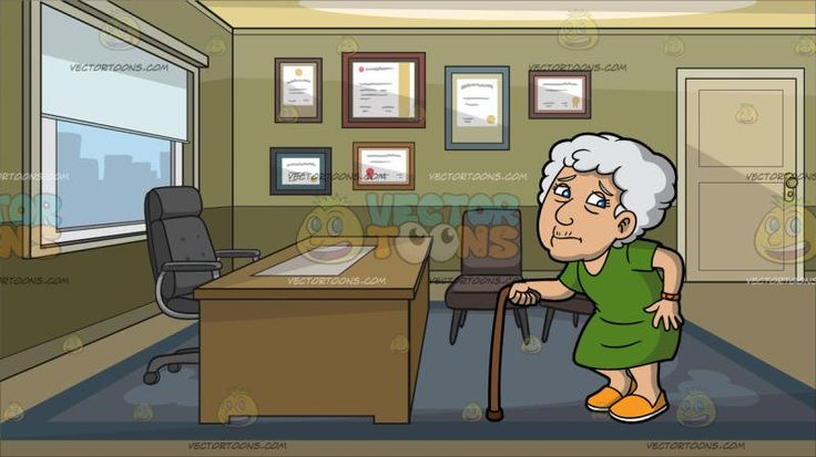 An Old Woman Experiencing Pain While Walking At An Office With Diplomas On The Wall:  An old woman with curly light gray short hair wearing a green dress orange watch around her left wrist yellow orange with white shoes left hand touching the side of her left buttocks in pain as her right hand holds a brown cane to help her walk. Set in a room with dark olive green walls beige door light brown flooring blue carpet gray swivel chair brown desk and two grayish brown chairs a glass window with…