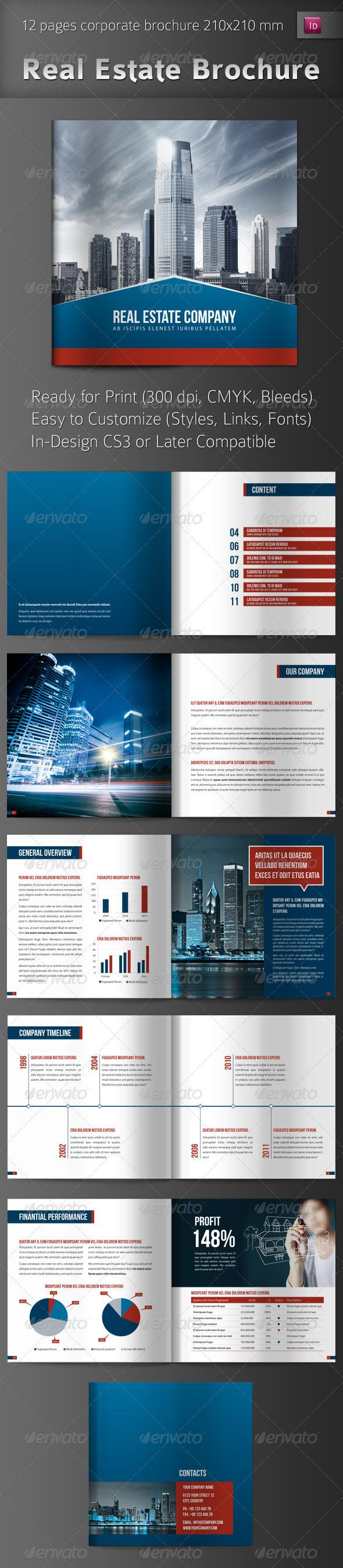 Real Estate Brochure GraphicRiver This is a 12 page InDesign brochure perfect for Real Estate