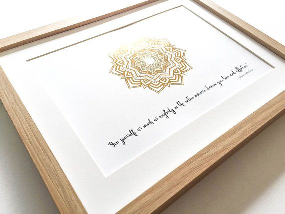 Gold foil print mandala print Gautama Buddha quote by InkiDesignAU