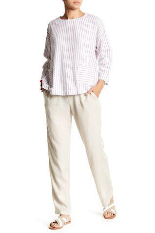Linen Blend Drawstring Pants