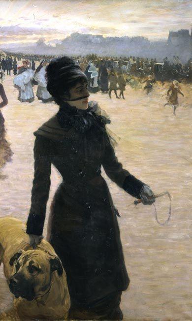 Giuseppe De Nittis (Italian 1846–1884) [Impressionism, Salon] Signora con cane (Returning from the Bois de Boulogne), 1878.