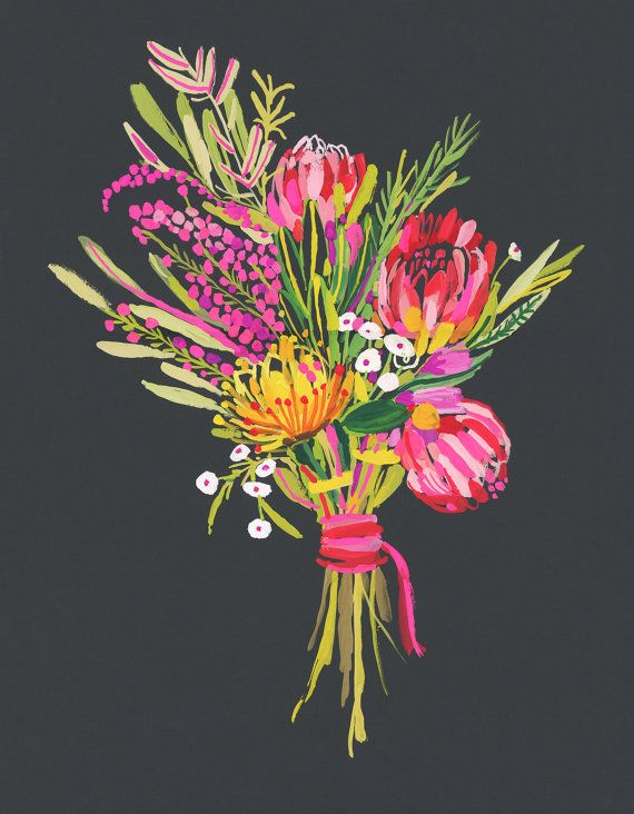 Protea Bouquet PRINT by CarolynGavinShop on Etsy