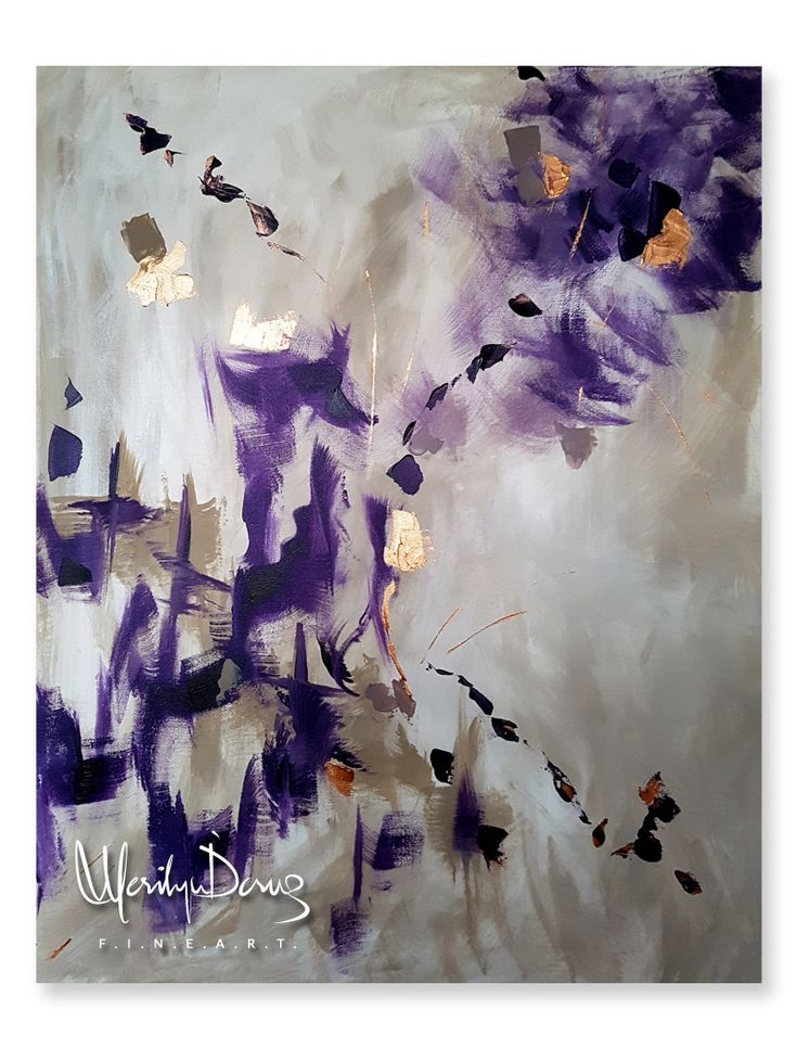 Large Giclee Print, Abstract Art, Purple & Faux Gold Leaf, Acrylic Painting Print, Home Decor, Living Room Art, MerilynDcruzFineArt by MerilynDcruz on Etsy