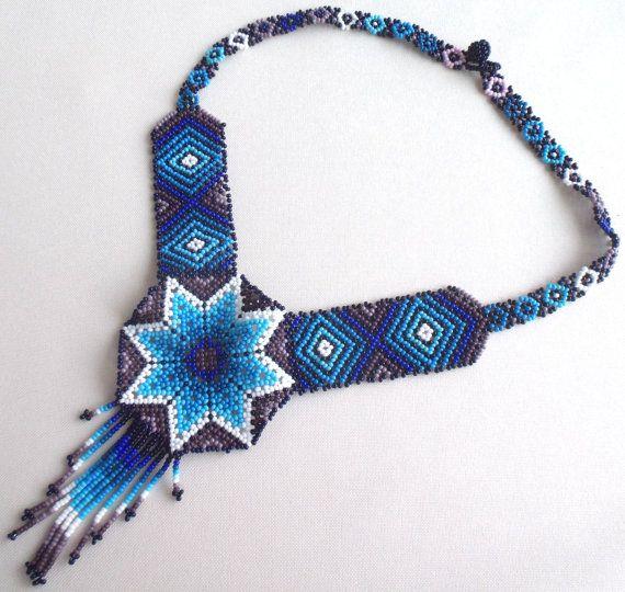 Mexican Huichol Beaded Star Necklace por Aramara en Etsy