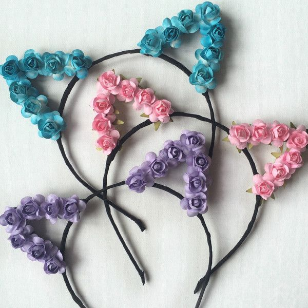 Flower cat ears headband, floral cat ears festival wear, ariana... (24 AUD) ❤ liked on Polyvore featuring accessories, hair accessories, head wrap headband, flower headband, floral headwrap, rose headband and floral headband