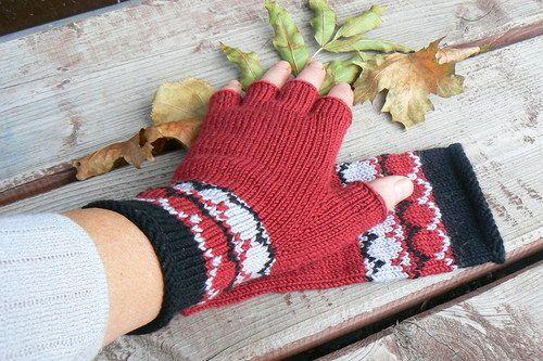 my fingerless gloves - cihlová, černá a šedá a výšívaný lem