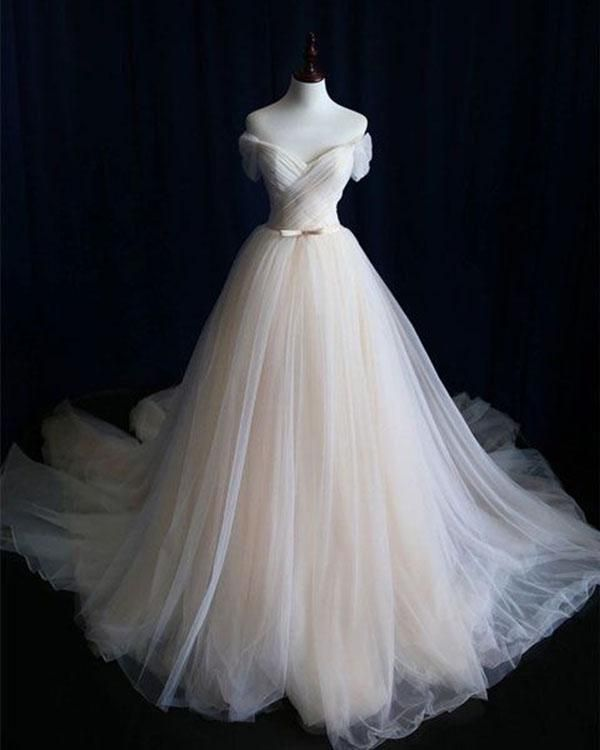 Off The Shoulder Beach Wedding Dresses 2018 Simple Tulle A-line Wedding Gowns with Belt – Lucy Sena
