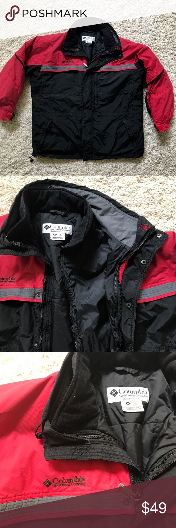 Columbia Gizzmo Ski Snow Winter Coat men XL Columbia Gizzmo 2 pc. Coat within a coat for men size XL.  Waterproof exterior w/ multiple pockets that have zippered closure.  Embroidered logo on chest.  Snow guard inside cinch tie.  Adjustable arm bands to keep elements out.  Elastic adjustable waist tie.  Interior Coat is padded, quilted and lined.  Super warm.  Either coat can be worn without the other. It together for extreme cold.  Used for ski Snowboard Coat.  Men's size XL.. over sized to…