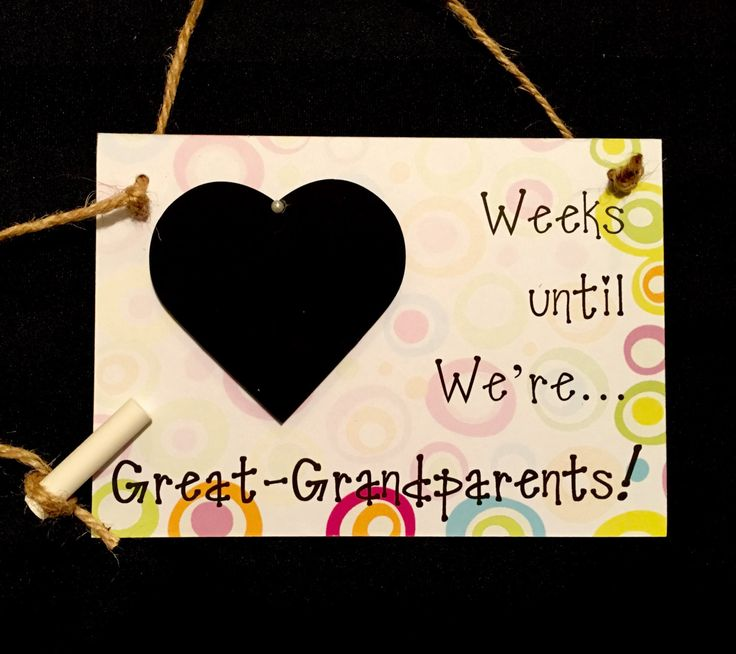 "Pregnancy Reveal to Great-Grandparents, Pregnancy Countdown, Gift For Great-Grandparents To Be! ""Weeks Until..We're Great-Grandparents!"" by CountdownChalkboards on Etsy"