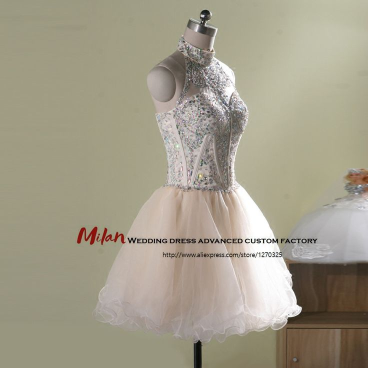 robe de cocktail 2017 high necked corset  Back open Diamond  fluffy champagne cocktail dresses luxury quality prom party