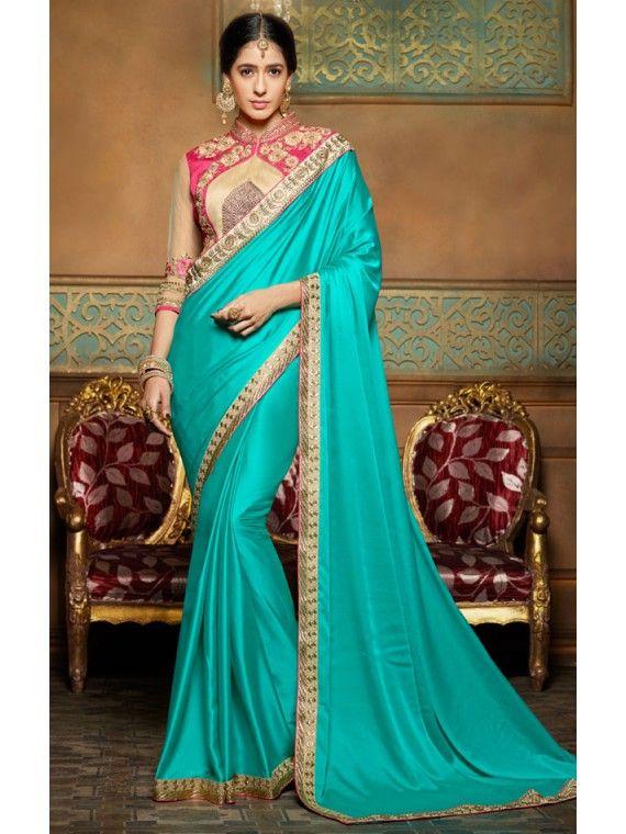 Ravishing Greenish Blue Shinning Crepe saree