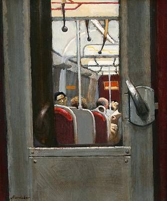 British Artist Charles HARDAKER - The Tube - Metropolitan I like the clarity of this piece- the way that the whole of the picture has been painted so clearly makes the viewer feel as though they are looking through the window into the carriage.