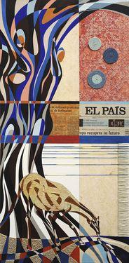 """Saatchi Art Artist Graziella Coi; Collage, """"La notizia gravida e la giraffa che si specchia/ The pregnant news and the giraffe which is reflected (SOLD)"""" #art"""