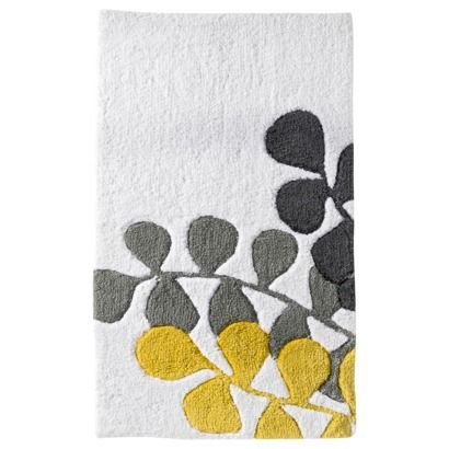 InterDesign Microfiber Stripz Bathroom Shower Accent Rug, 34 X 21, Gray/  Yellow