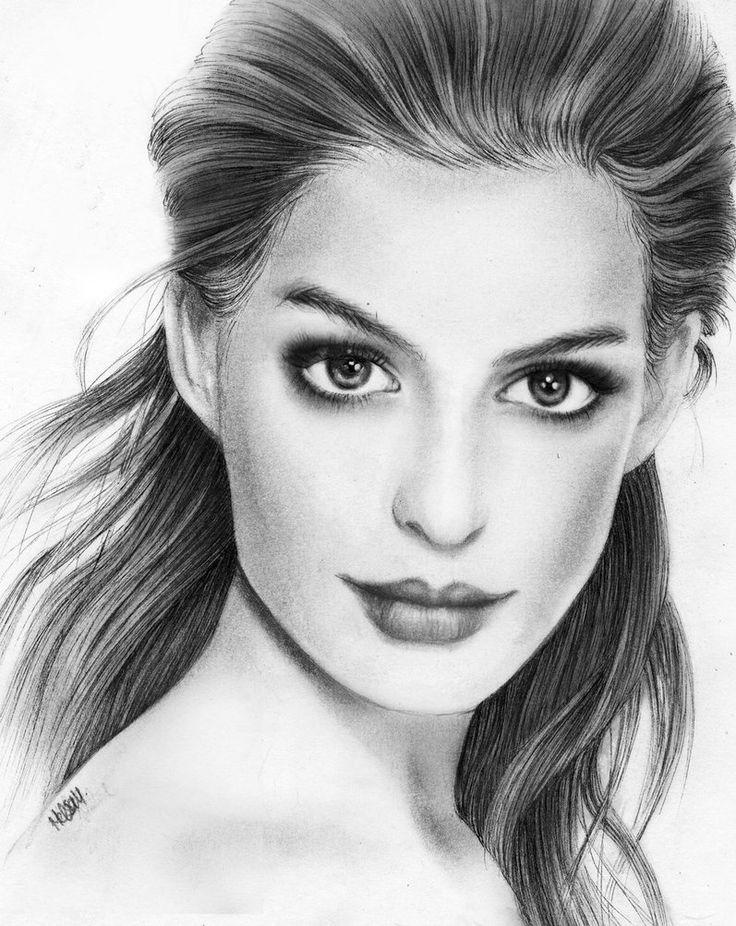 Anne Hathaway Pencil Portrait by ~Melissamalone on deviantART