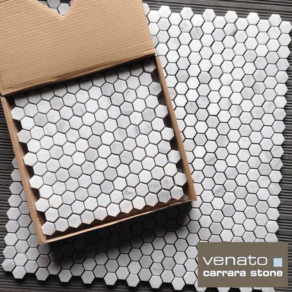 "Carrara (Carrera) Venato Hexagon Honed 1"" Mosaic Tile"